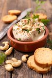 Vegan cheese with cashew. Close up on vegan cheese with cashew Royalty Free Stock Image