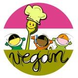 Vegan Baby Chef, Cartoon for Children Royalty Free Stock Image