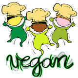 Vegan Baby Chef, Cartoon for Children-Diversity Royalty Free Stock Photo