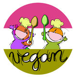 Vegan children chefs Stock Photo