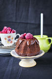 Vegan chocolate cake. With raspberry Royalty Free Stock Image