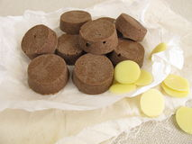 Vegan chocolate with cocoa butter, coconut oil, rice syrup and cocoa powder Royalty Free Stock Image