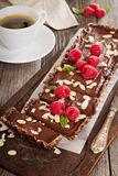Vegan chocolate tart with almonds Stock Image