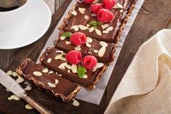 Vegan chocolate tart with almonds Stock Photography