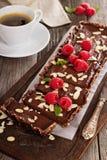 Vegan chocolate tart with almonds Royalty Free Stock Image