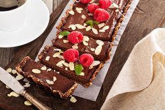 Vegan chocolate tart with almonds Royalty Free Stock Images