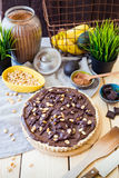 Vegan Chocolate Tart, Vertical View royalty free stock photo