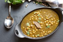 Vegan Chola Palak or Chana palak Stock Photography