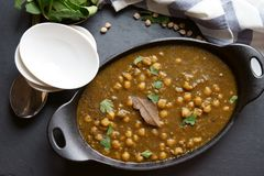 Vegan Chola Palak or Chana palak Stock Photo