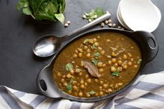 Vegan Chola Palak or Chana palak Stock Photos