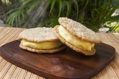 Vegan Coconut Mango Ice Cream Sandwiches Royalty Free Stock Images