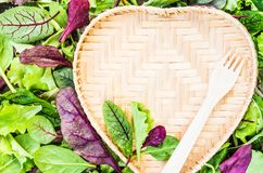 Vegan concept or diet with text space green salad leaves background and heart shaped plate. Royalty Free Stock Images