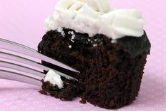 Vegan Cookies n Cream Cupcake. Closeup of Vegan Cookies n Cream Mini Cupcakes with Fork on pink Stock Images