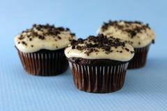 Vegan Cookies n Cream Cupcakes. Closeup of Three Vegan Cookies n Cream Cupcakes on blue Stock Image