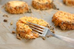 Vegan croquette or rissole with cooked rice Royalty Free Stock Image