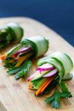 Vegan cucumber rolls Stock Images