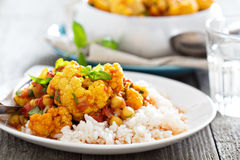 Vegan curry with chickpeas and vegetables Stock Photography