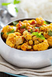 Vegan curry with chickpeas and vegetables Stock Images