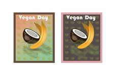 Vegan day. For a healthy lifestyle stock illustration