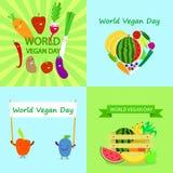 Vegan day banner set, flat style. Vegan day banner set. Flat illustration of vegan day vector banner set for web design vector illustration