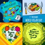 Vegan day banner set, hand drawn style. Vegan day banner set. Hand drawn set illustration of vegan day vector banner for web design stock illustration