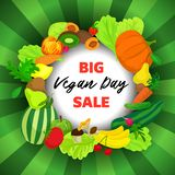 Vegan day big sale concept background, cartoon style. Vegan day big sale concept background. Cartoon illustration of vegan day big sale vector concept background royalty free illustration