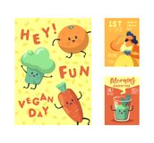 Vegan Day Poster, Banner, Flyer. World Vegetarian Holiday Design with Funny Vegetables and Organic Food. Healthy Eating. Concept. Vector illustration vector illustration