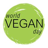 Vegan day vector colorful illustration. Circle image good for bio, ecology, organic logos, icons, labels, tags, signs for cafe, restaurants, products packaging Stock Image