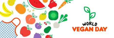 Vegan Day web banner of vegetable and fruit icons. World vegan Day web banner illustration for special diet and healthy eating. Grocery bag with colorful flat vector illustration
