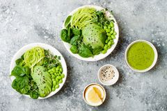 Vegan, detox Buddha bowl with avocado, spinach, micro greens, edamame beans, zucchini noodles and herb green dressing. Top view, grey concrete background stock photography