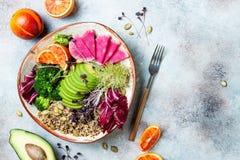Vegan, detox Buddha bowl with quinoa, micro greens, avocado, blood orange, broccoli, watermelon radish, alfalfa seed sprouts. Top view, flat lay, copy space stock image