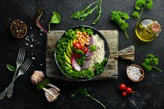 Free Vegan, Detox Buddha Bowl Recipe With Rice, Avocado, Tomatoes And Chickpeas. Dishes Menu. Stock Image - 164713631