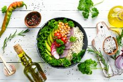 Free Vegan, Detox Buddha Bowl Recipe With Rice, Avocado, Tomatoes And Chickpeas. Dishes Menu. Royalty Free Stock Photos - 164713938
