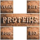 Vegan diet proteins food bio. Mosaic of written on wooden background - vegan diet proteins food bio royalty free stock photography