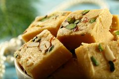 Soan papdi -delicious Indian festival sweet snack stock image