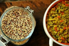 Vegan dish : quinoa meal with vegetables and garlic Royalty Free Stock Photo