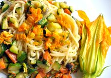 Vegan dish : squash blossom pasta Royalty Free Stock Photography
