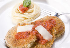 Vegan Eggplant Parmesan with Angel Hair Pasta Royalty Free Stock Photo