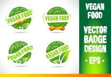 Vegan food Badge Logo Vector Stock Images