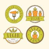 Vegan food badges. Vector EPS 10 hand drawn labels stock illustration