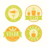 Vegan food badges. Vector EPS 10 hand drawn labels Stock Photo