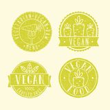 Vegan food badges. Vector EPS 10 hand drawn labels Royalty Free Stock Photos