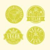 Vegan food badges. Vector EPS 10 hand drawn labels royalty free illustration