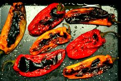 Vegan food with bell peppers grilled in the oven Stock Photography