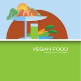 Vegan food creative poster in flat design. Royalty Free Stock Photos