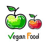 Vegan food emblem with green and red apple fruit icons. Vector illustration Stock Images