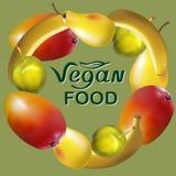 Vegan Food Fruits Logos Stock Image