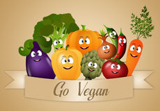 Vegan food with funny vegetables Stock Images