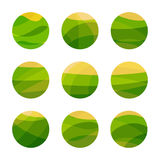 Vegan food green field with yellow sun. Vegetarian restaurant, cafe logo. Isolated abstract decorative logos set, design. Element template on white background Royalty Free Stock Image