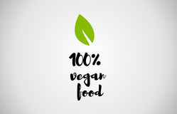 100% vegan food green leaf handwritten text. 100% vegan food text green leaf black white logo creative company icon design template color colorful black royalty free illustration